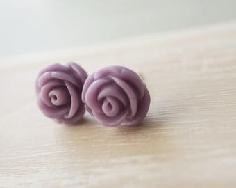 Stud Earrings, Vintage Retro lavender purple resin flower earrings