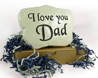 2 ROCKS! I love you Mom & I love you Dad - Engraved in Stone,  for Mother's Day and Father's Day. w/ Gift Boxes and crinkle cushion