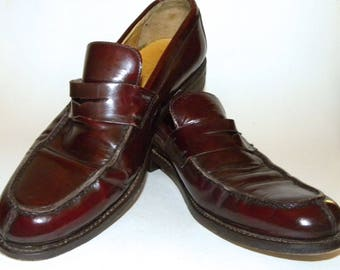 1990s 90s COACH Penny Loafers / Burgundy Oxblood Leather / men size 10.5 D