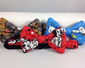 101 dalmatians snoopy scooby doo boys bow tie neck wear adjustable elastic multiple sizes made to order