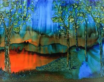 Print. Alcohol Ink. Alcohol Ink Art.  Alcohol Ink Print. Art Print. Wall Art. Landscape. Soulful Forest.
