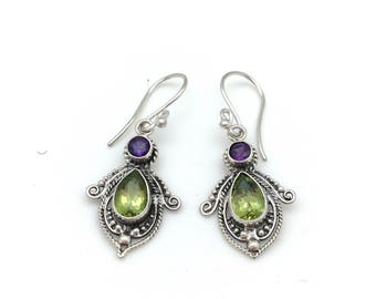 Sterling Silver with Amethyst and Peridot Dangle Earrings
