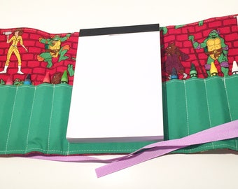 Ninja Turtles inspired themed Crayon Roll with Doodle pad