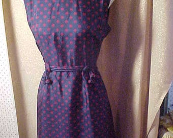 "Vintage 1950s NavyBlue Silk with PinkDots Dress, Bust 38""   #2268"
