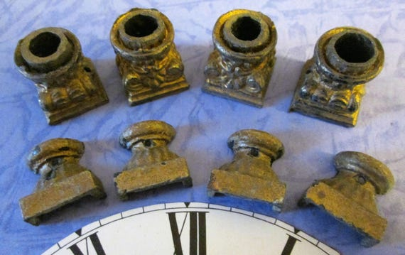 2 Sets of 4 Small Antique Cast Metal Mantle Clock Feet for your Clock Projects - Steampunk Art - Metalwork
