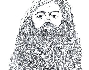 Man with Birds in his Beard Pen and Ink Print Digital Download