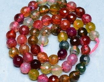 6mm Multi Color Faceted Dragon Veins Agate Gemstone Beads  Full Strand