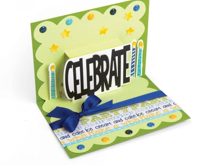New! Sizzix Thinlits Die Set 5PK - Celebrate 3-D Drop-ins Sentiment by Stephanie Barnard 662256