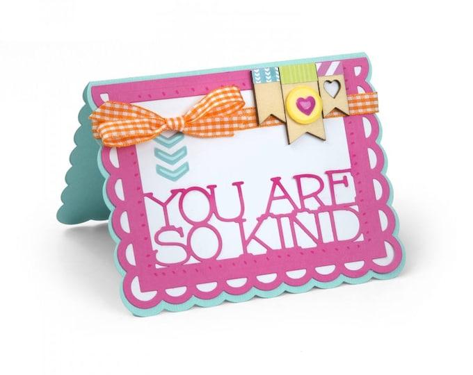 New! Sizzix Framelits Die Set 9PK - Card, Scallop w/Thanks Sentiment Drop-ins by Stephanie Barnard 662259
