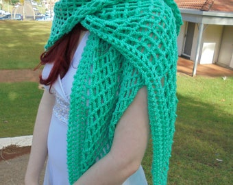 Green crocheted wrap