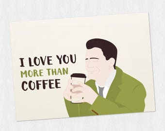 Twin Peaks Funny anniversary printable card -Dougie with coffee in the elevator PDF DIY Greeting card Happy Valentine's Day - 6x4 inch