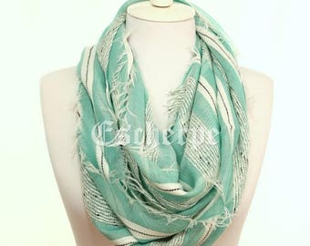 Mint Striped Scarf Spring Summer Scarf Me Accessory Women's Fashion Accessories Christmas Gifts Ideas For Her For Him Girlfriend Boyfriend