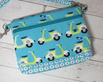 Cross Body Purse / Wallet in Organic Cotton Fabric - Organizer, Zip Pockets, Credit Card Pockets, Removable Strap, Scooter, Bird, Cactus