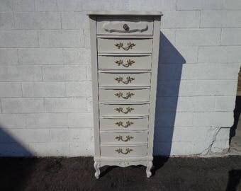 French Provincial Lingerie Chest Tall Dresser Sears Bonnet Drawers Shabby Chic Vanity Bedroom Storage Regency Boho CUSTOM PAINT AVAIL