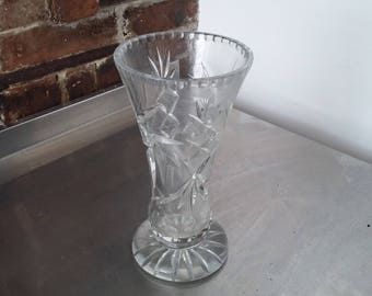Large Vintage Pressed Glass Vase 247 mm