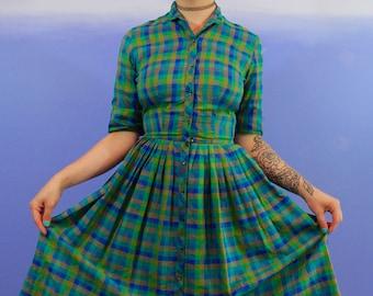 Vintage 1950's Blue & Green Plaid Pleated Skirt Dress - SMALL