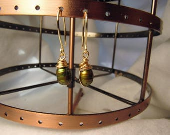Wire wrapped earrings green freshwater pearls