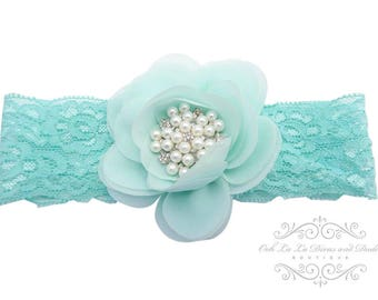 Aqua Headband/Baby Headband/Baby Headbands and Bow/Infant Headband/Baby Girl Headband/Girl Headband Baby/Christening Dress/Baby Outfit