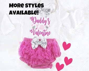 Baby Valentines Outfit Baby Valentines Day Daddys Little Valentine Pink Baby Outfit First Valentines Day 1st Valentines Day Baby Girl Outfit
