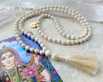 White Mala Beads | White Tassel Necklace | 108 Mala Beads in White Magnesite | Yoga Jewelry