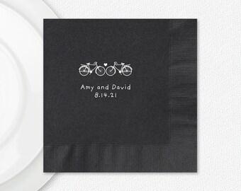 Black Napkins Wedding Bikes, Black Luncheon Napkins, Personalized Black Luncheon Napkins, Imprint And Napkin Color Options Available