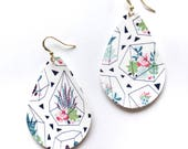 Succulent Love Vegan Leather Teardrop Statement Earrings