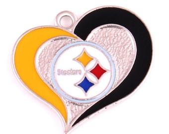Pittsburgh Steelers Heart Pendant,Sports Charms, Pro Football Charm, Steelers Charm, Pittsburgh Steelers Charm, Pittsburgh Steelers,Qty: 1