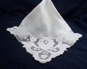Ladies' Large Lace on Net Handkerchief Lace Wedding Hankie Bride's Lace Hankie