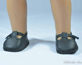 American Girl SHOES Fifties Black Smooth Faux Leather T-Strap Flats for American Girl or 18 inch doll