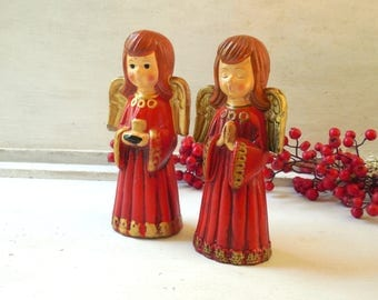 Twin Angels Vintage Figurines - 7 Inch Red & Gold Ceramic Christmas Holiday Accent, Gift / 0589