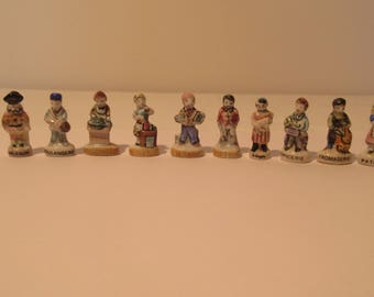 10 Porcelain Feves, Charm's, Nativity, Epiphany Cake Charms,Galette de Roi, Vintage French, Professions - Fish Monger, Baker, Grocer,
