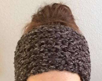 Knit Ear Warmer, Womens Ear Warmer, Chunky Ear Warmer, Black and Gray Ear Warmer