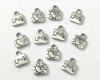 12 love  charms , antique silver 10mm # CH 352
