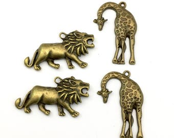 4 lion and girafe charms ,bronze tone ,24mm to 42mm #CH374