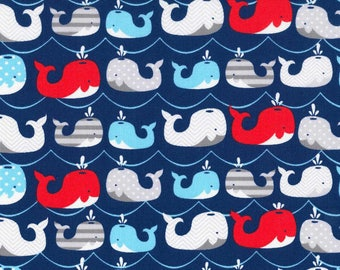Nautical Fabric by the Yard, Quilting, Whale, Nursery, Baby, Cotton, Childrens, Blue, Red, Gray, Large Print, Ocean, Waves, Boy, Decor