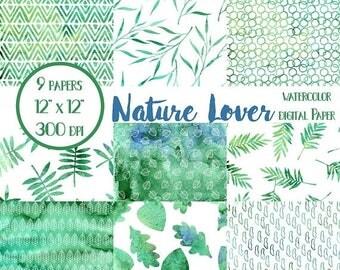 ON SALE Scrapbook Paper, Nature, Leaves, Digital Paper, Digital Wallpaper, Digital Scrapbook Paper, Collage Paper