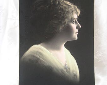 Vintage Carte Postal Photo Postcard 1900-20's GLAMOUR Ladies Lace FRENCH POSTED 1912
