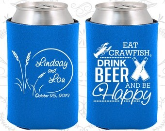 Blue Wedding, Blue Can Coolers, Blue Wedding Favors, Blue Wedding Gift, Blue Party Favors (583)