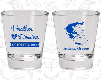 Greece Shot Glass, Greece Shot Glasses, Greece Glass, Greece Glasses, Greece Glassware (177)