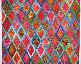 "Modern Quilted Throw, Kaffe Fassett Bordered Diamond Quilt, Multi-Color Boho Lap Quilt, 60""x45"", Quiltsy Handmade"