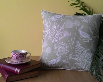 Sage Green Hare & Ferns Cushion Cover with cream cotton piping - large size