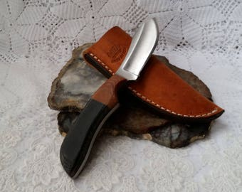 Hand Made Fixed Blade Knife, Hunting, Skinning, Full Tang Micarta, Utilitarian, Authentic Leather Sheath, Annealed High Carbon Steel Blade