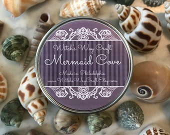 Mermaid Cove Scented Soy Candle // Artisan Candle // Sea Salt // Nautical // Aromatherapy // Essential Oils