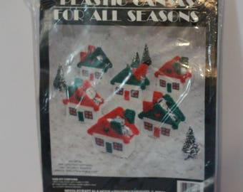 Needlecraft Ala Mode Plastic Canvas For All Seasons Mini Christmas CottagesKit #W90-504 Makes 6 Vintage 1990