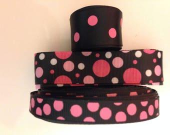 Lot mix colorful dot printed grosgrain ribbon