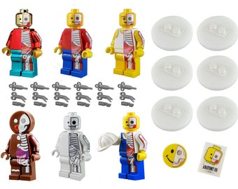 Set of 6 Jason Freeny Anatomy Minifigures with Display Discs, Accessories and metal storage tin