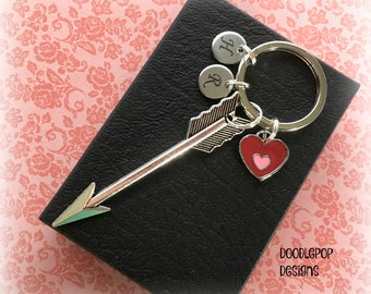 Valentine's keyring - Silver arrow keyring - Valentine's gift for her - Personalised arrow keychain - Red heart keyring - Girlfriend gift