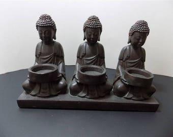 NEW Rare Resin PVC  Buddha Candle Tea Holder Sculptures Figurines Asian Zen Thai Oriental Spiritual Religious Hindu