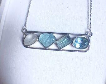 gemstone bar necklace, aquamarine necklace, bar necklace, bespoke jewelry, topaz necklace, blue gemstone, raw gemstone jewelry, gift for mom