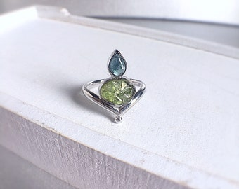 Raw peridot ring, blue tourmaline, tourmaline ring, rough peridot, peridot ring, raw crystal ring, raw gemstone jewelry, August birthstone